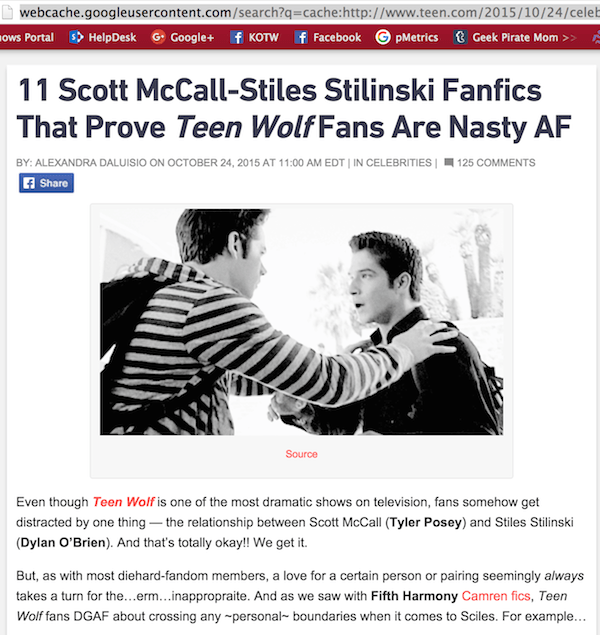 Update: Teen Com's Fanfic Shaming Post – Does Editing Fix it